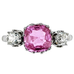 Pink Sapphire Diamond and Platinum Ring