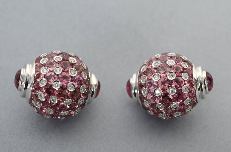 Modern Pink Sapphire, Diamond and Tourmaline White Gold Earrings For Sale