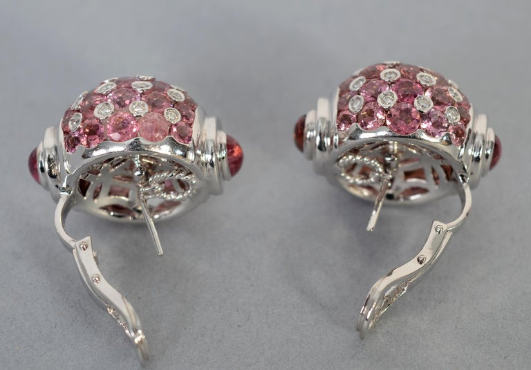 Pink Sapphire, Diamond and Tourmaline White Gold Earrings In Excellent Condition For Sale In Darnestown, MD