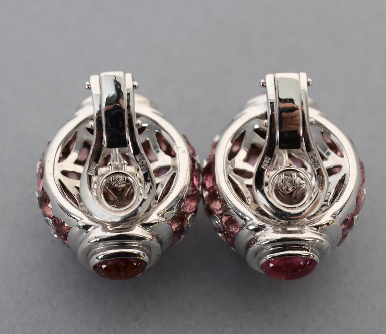 Women's or Men's Pink Sapphire, Diamond and Tourmaline White Gold Earrings For Sale