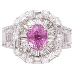 Pink Sapphire Diamond Baguette Ring