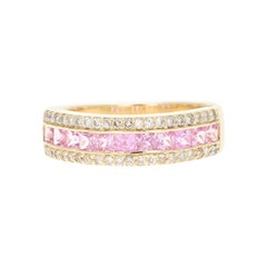 Pink Sapphire Diamond Band 14 Karat Yellow Gold