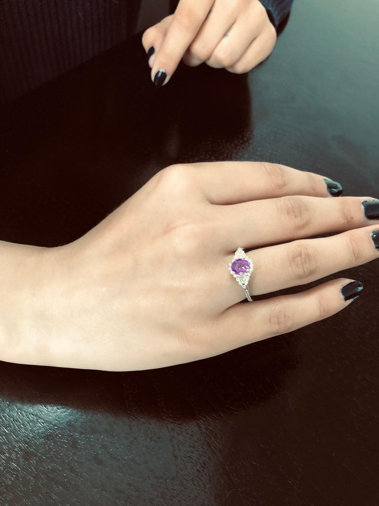 Contemporary No Heat Ceylon Pink Sapphire Diamond Cocktail Ring GIA Certified  For Sale
