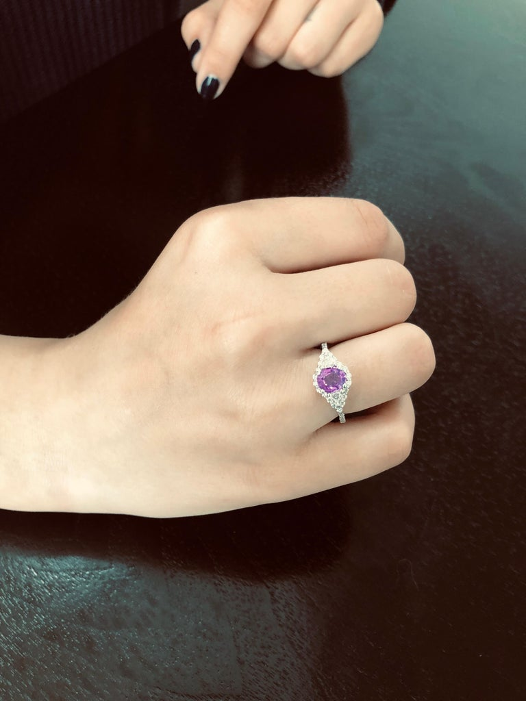 Oval Cut No Heat Ceylon Pink Sapphire Diamond Cocktail Ring GIA Certified  For Sale