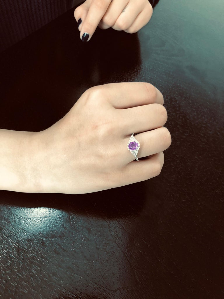Women's No Heat Ceylon Pink Sapphire Diamond Cocktail Ring GIA Certified  For Sale