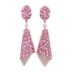 Pink Sapphire Diamond Dangling Earrings, Set in 18 Karat Rose Gold