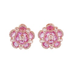 Pink Sapphire and Diamond Earring in 18 Karat Rose Gold