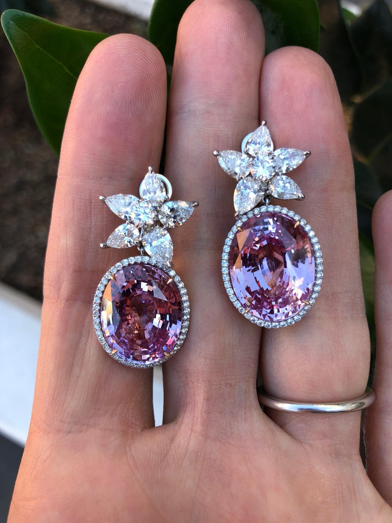 Oval Cut Pink Sapphire Diamond Earrings GIA Certified 36.64 Carat For Sale