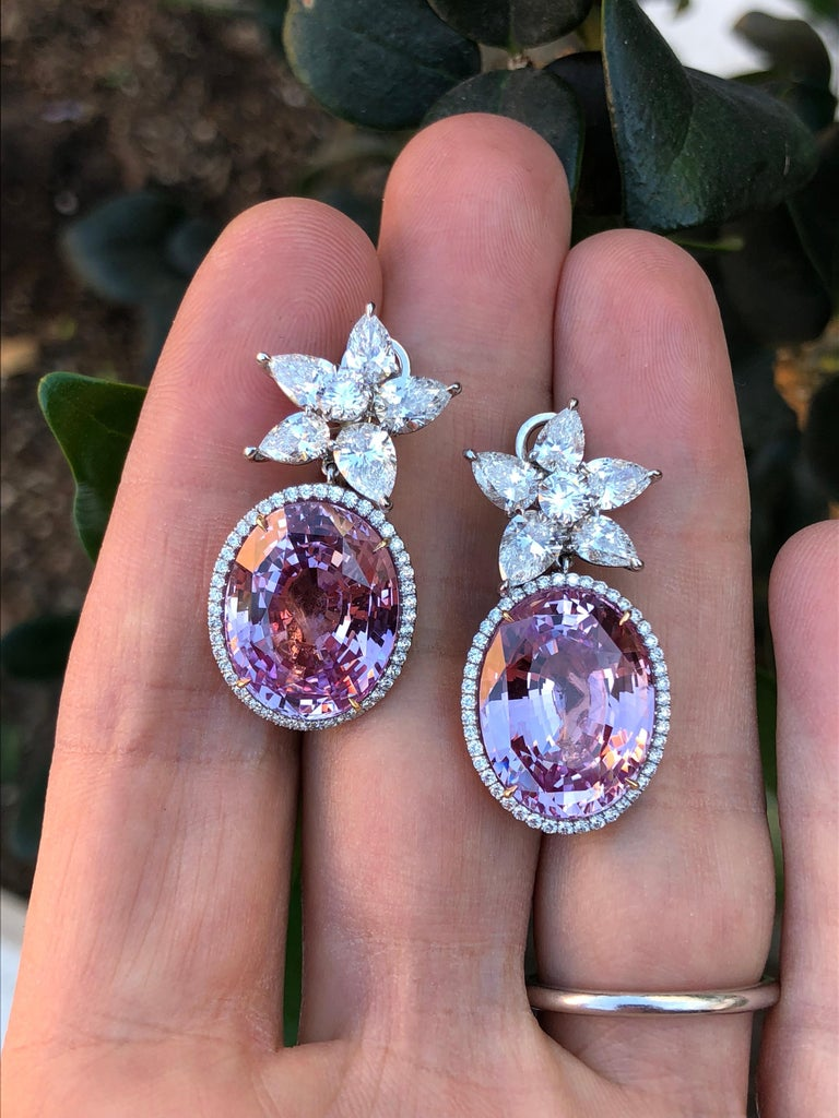 Pink Sapphire Diamond Earrings GIA Certified 36.64 Carat For Sale 2