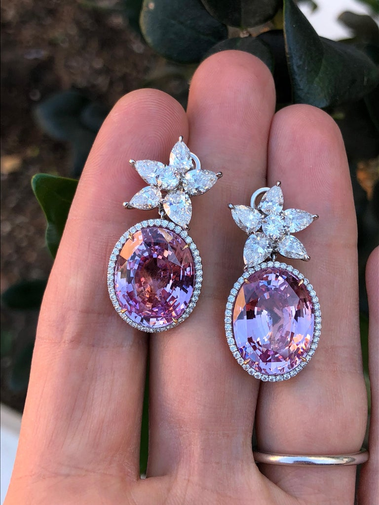Pink Sapphire Diamond Earrings GIA Certified 36.64 Carat For Sale 3