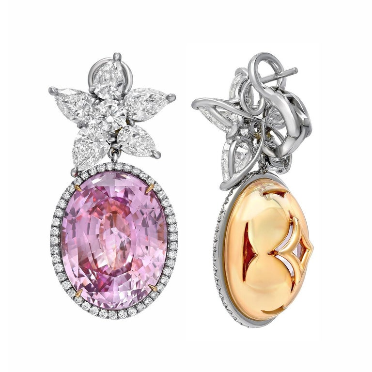 Pink Sapphire Diamond Earrings GIA Certified 36.64 Carat For Sale