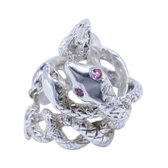 Pink Sapphire Diamond Emerald Snake Ring Sterling Silver Cocktail Ring J Dauphin