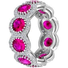 Pink Sapphire Diamond Eternity Band
