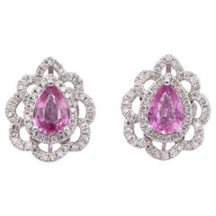 Pink Sapphire Diamond Floral Earring 2.32 Carat