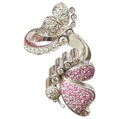 Pink Sapphire Diamond Flower Butterfly Engagement 18 Karat White Gold Ring