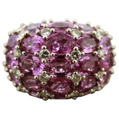 Pink Sapphire Diamond Gold Domed Cocktail Ring