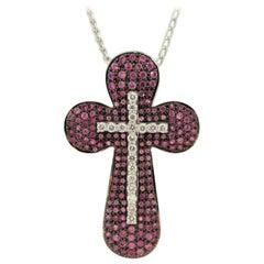Pink Sapphire Diamond Gold Double Cross Pendant