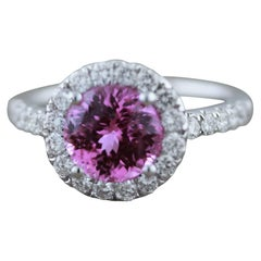 Pink Sapphire Diamond Halo Gold Ring