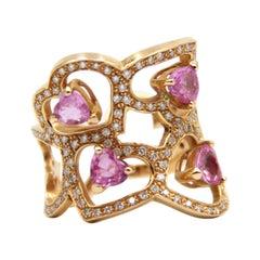 Pink Sapphire Diamond Heart 18k Gold Ring
