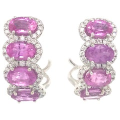 Pink Sapphire Diamond Huggie Hoop Earrings 5.72 Carat 14 Karat White Gold