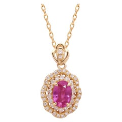 Pink Sapphire Diamond Necklace 18 Karat Gold