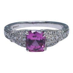 Pink Sapphire Diamond Platinum Engagement Ring