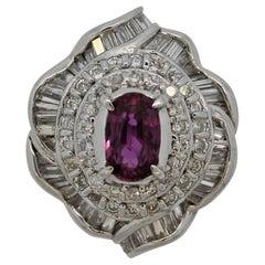 Pink Sapphire Diamond Platinum Ring