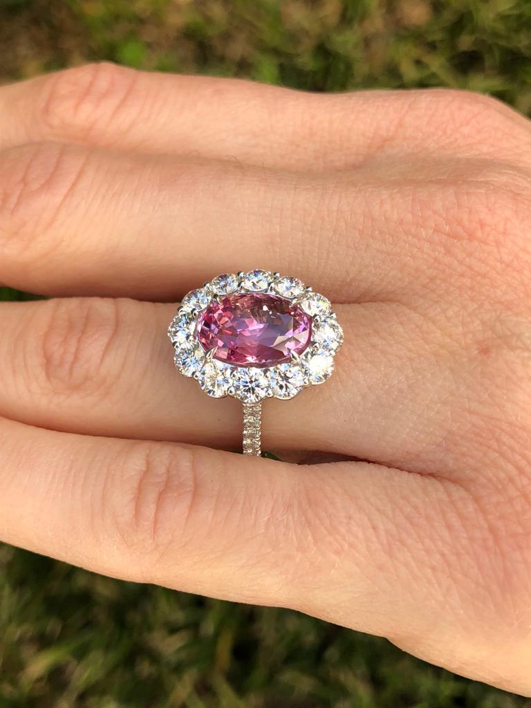 Natural Pink Sapphire Engagement Ring Diamond Platinum Unheated Ceylon Sapphire In New Condition In Beverly Hills, CA