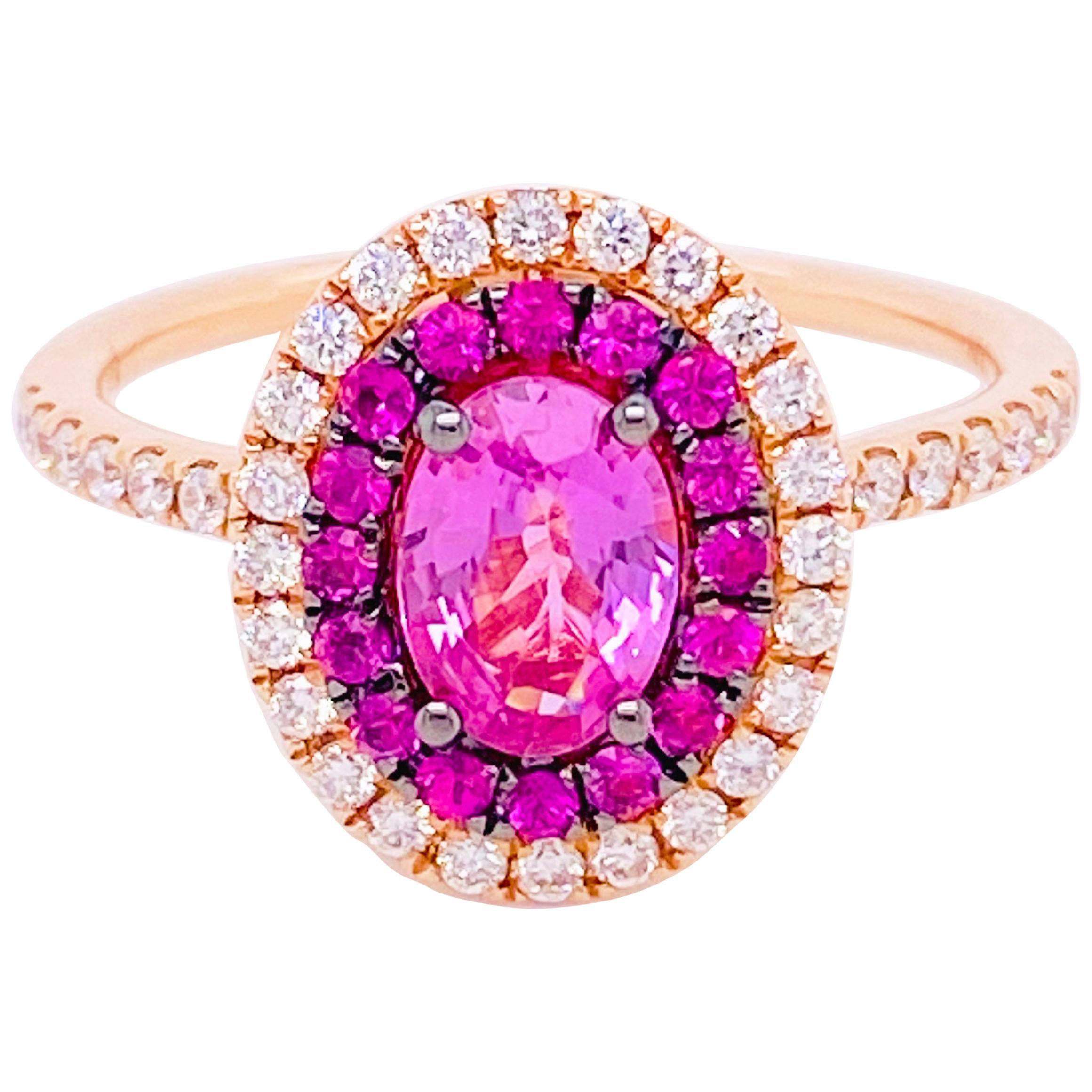 Pink Sapphire Diamond Ring, 14 Karat Rose Gold, Fashion, Halo, 1.22 Carat