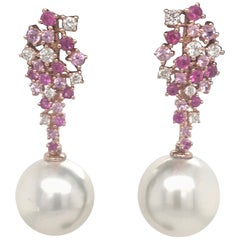 Pink Sapphire Diamond South Sea Pearl Earrings 1.41 Carat 18 Karat White Gold