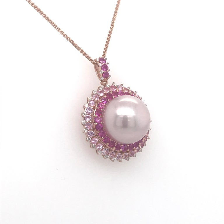 Contemporary Pink Sapphire Diamond South Sea Pearl Pendant Necklace 2.19 Carat 18K Rose Gold For Sale