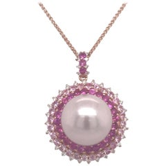 Pink Sapphire Diamond South Sea Pearl Pendant Necklace 2.19 Carat 18K Rose Gold