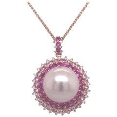 Pink Sapphire Diamond South Sea Pearl Pendant Necklace 2.19 Carat 18K Rose Gold