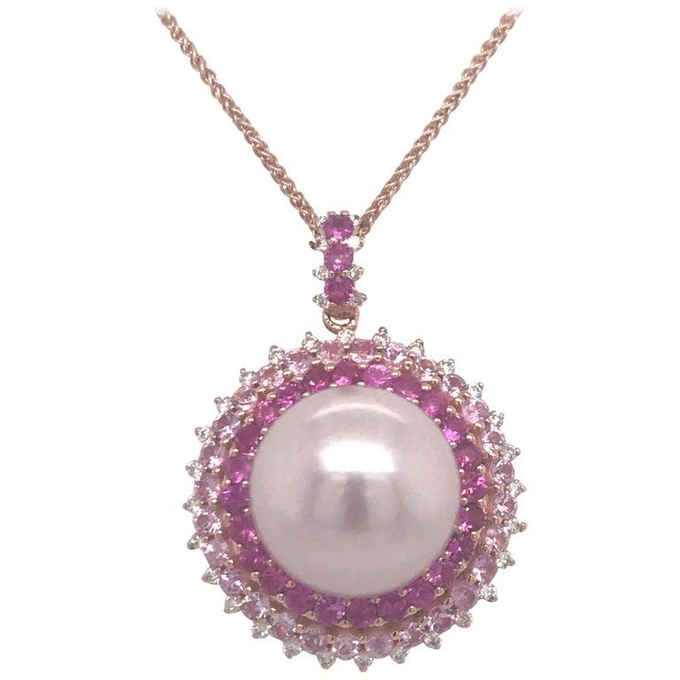 Pink Sapphire Diamond South Sea Pearl Pendant Necklace 2.19 Carat 18K Rose Gold For Sale