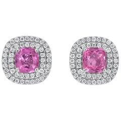 Pink Sapphire Diamond Stud Earrings 3.31 Carat Cushion Cuts