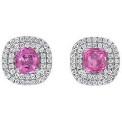Pink Sapphire Diamond Stud Earrings Cushion Cut 3.31 Carat Total