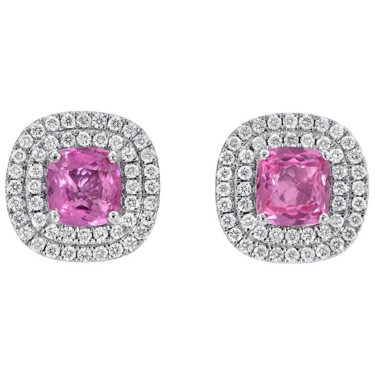 Pink Sapphire Diamond Stud Earrings 3.31 Carat Cushion Cuts For Sale