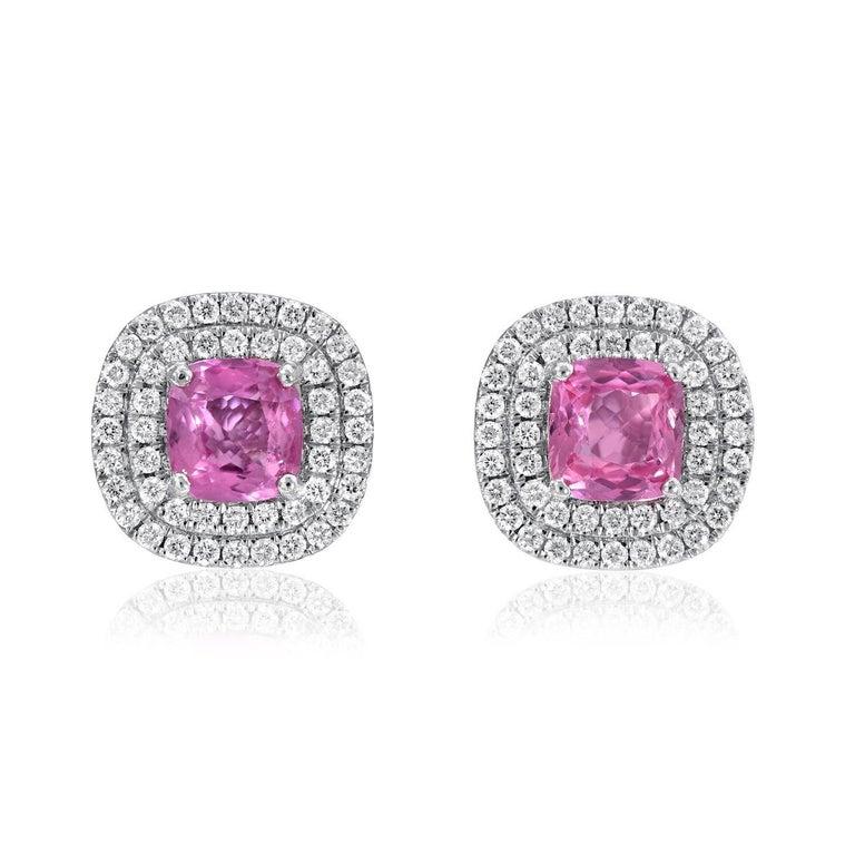 Modern Pink Sapphire Diamond Stud Earrings 3.31 Carat Cushion Cuts For Sale