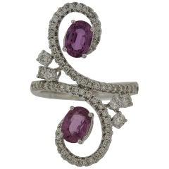 Pink Sapphire Diamond Swirl Gold Cocktail Ring