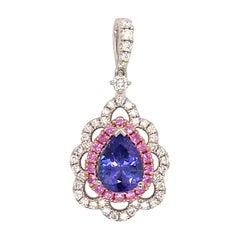 Pink Sapphire Diamond Tanzanite Pendant 2.61 Carat 18 Karat White Gold
