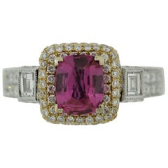 Pink Sapphire Diamond Two-Tone Gold Ring