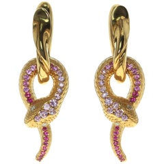 Pink Sapphire Diamonds 18 Karat Yellow Gold Snake Earrings