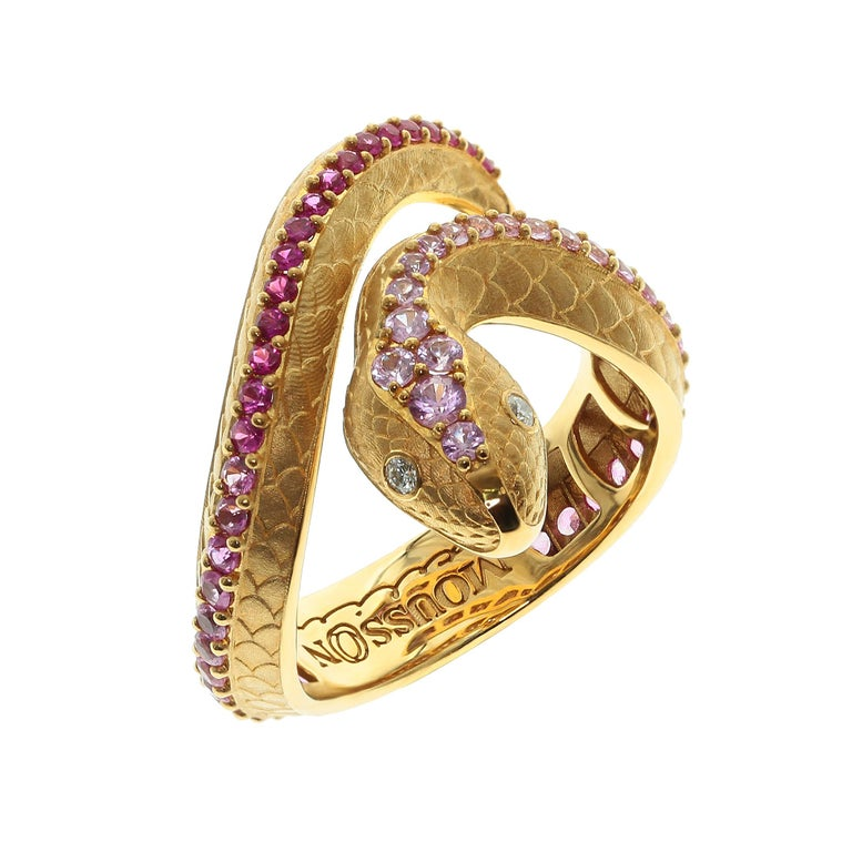 Pink Sapphire Diamonds 18 Karat Yellow Gold Snake Ring  Just take a look on this hi-detailed Ring, distributes all the wisdom of the Snake. Carefully selected color graduation from Pink Sapphires to Diamonds gives the impression that Snake is