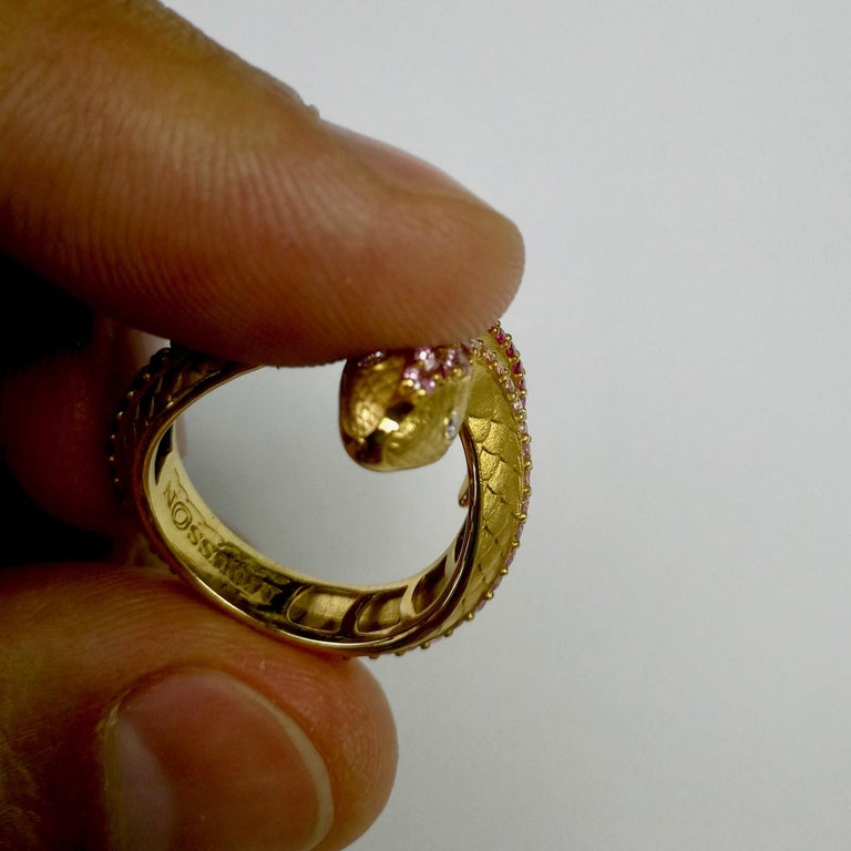 Pink Sapphire Diamonds 18 Karat Yellow Gold Snake Ring For Sale 2