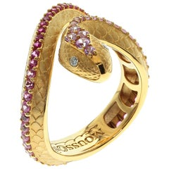 Pink Sapphire Diamonds 18 Karat Yellow Gold Snake Ring
