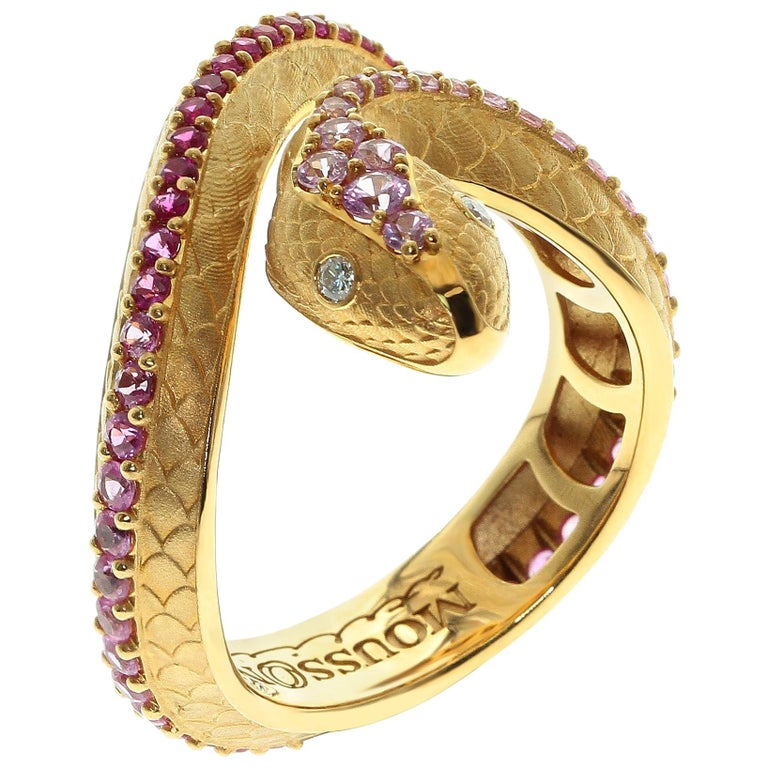 Pink Sapphire Diamonds 18 Karat Yellow Gold Snake Ring For Sale