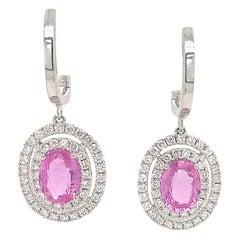 Pink Sapphire Double Diamond Halo Drop Earrings 2.62 Carat 14 Karat White Gold