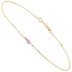 Pink Sapphire Drop Bracelet in Yellow Gold by Allison Bryan