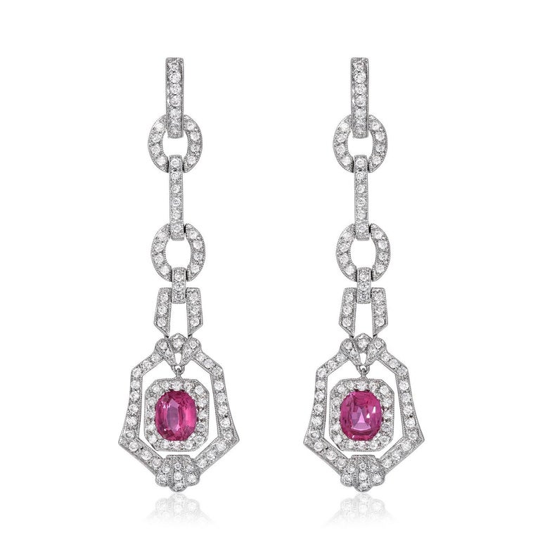 Modern Pink Sapphire Earrings Cushion Cut 2.90 Carats For Sale