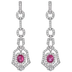 Pink Sapphire Earrings 2.90 Carat Cushion Cuts Diamonds White Gold